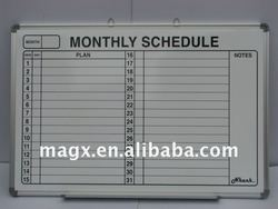 Whiteboard With Lines For Monthly Schedule