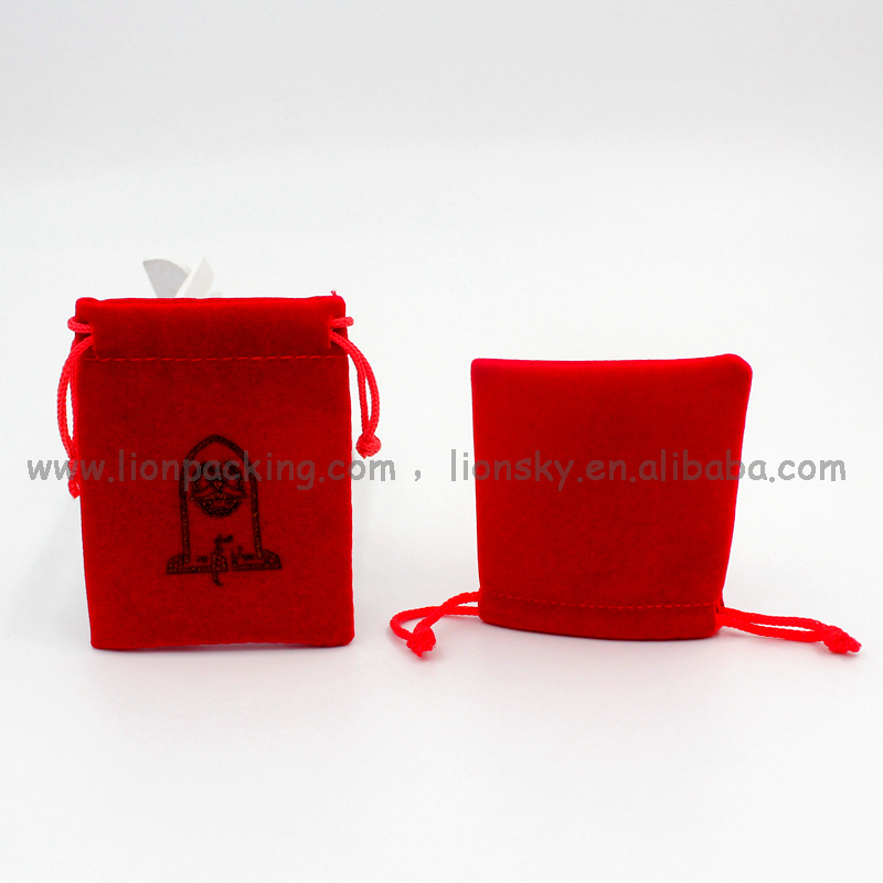 Luxury & fashionable 2017 design drawstring velvet pouch bag for watch bracelet coins etc 110x215mm