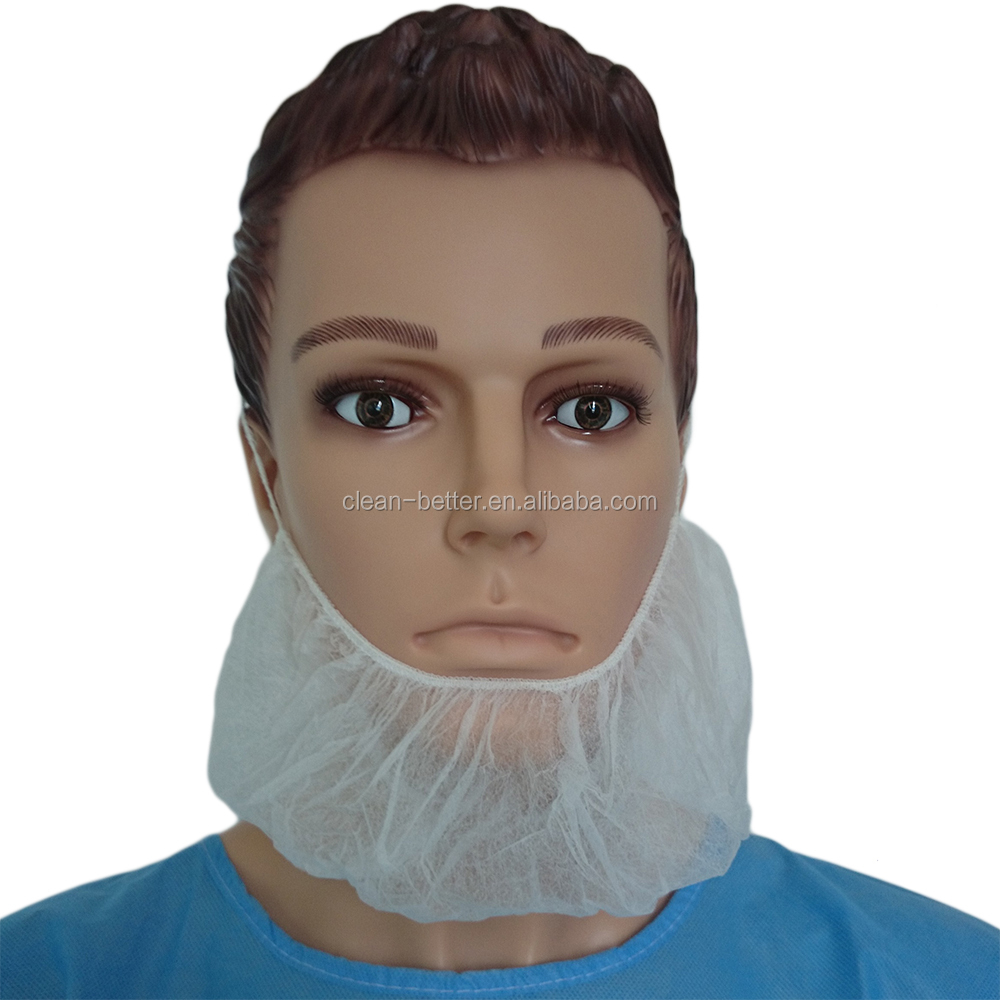 Men beard cover disposable mouth cover mask non woven white beard cover