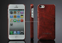 Card Slots Leather Back Case For iPhone 5 5S