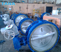 DIN flanged triple eccentric metal seat Butterfly Valve big size with electric actuator