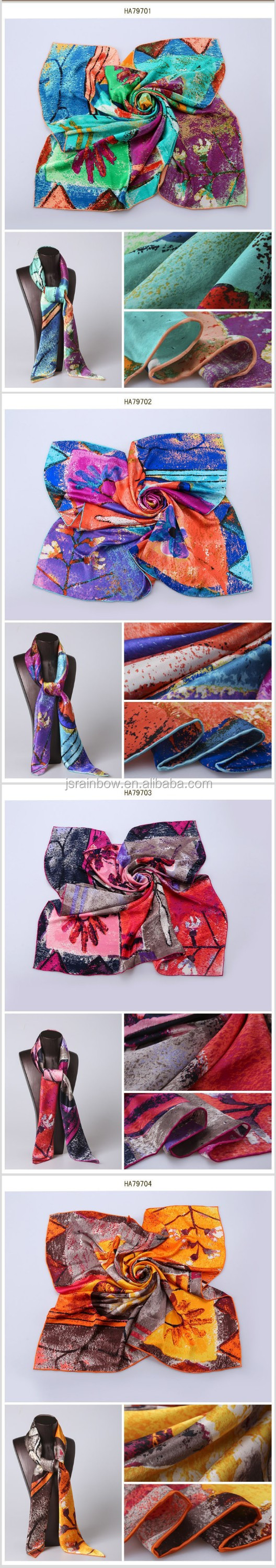 2016 new design abstract painting100 pure silk scarves wholesale