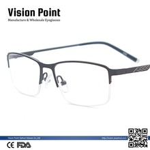Wholesale Men Lightweight Semi Rimless Metal Eyeglasses Rectangular Glasses Frames