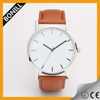 vintage custom alloy case leather band cheap leather watch