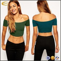 China factory OEM wholesale women summer sexy The Off Shoulder design Cropped cut short Crop Top close plain crop tops