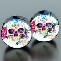 Buy Flower ear tunnels,ear flesh tunnel plug,ear tunnel plug in ...