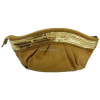 Faux suede evening party clutch bag with sequins stripe