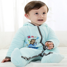 2016 new arrival long sleeve blue thick baby romper monkey pattern for winter hot sale Infant clothing and toddlers clothing