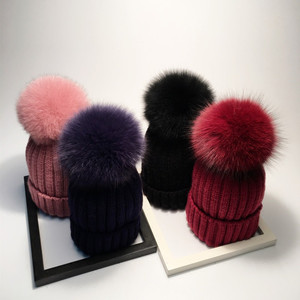 a1ddd339253 h104 Apparel Accessories Winter Red Removable Fox Bobble Hat For Women Warm  Knitted Beanies With Fur