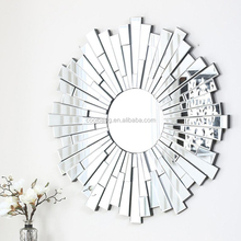Ornate round decorative abstract mosaic mirror wall