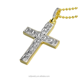 newest design mens gold plated hiphop bling iced out brass cross pendants