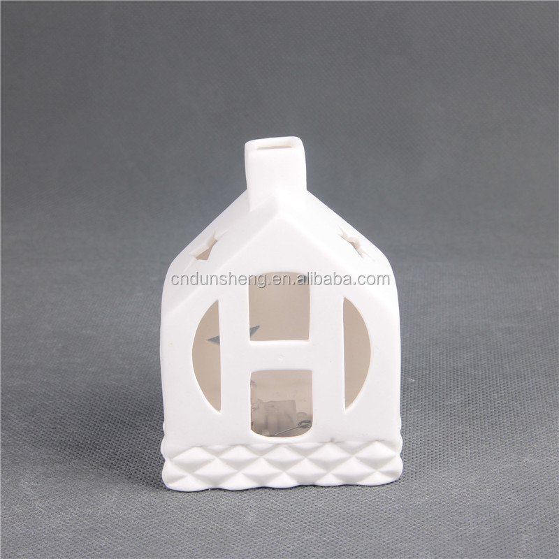 Christmas Gift LED Candle Lanterns Set of 4 White 'HOME' Hollowed Out Ceramic Candle Holders