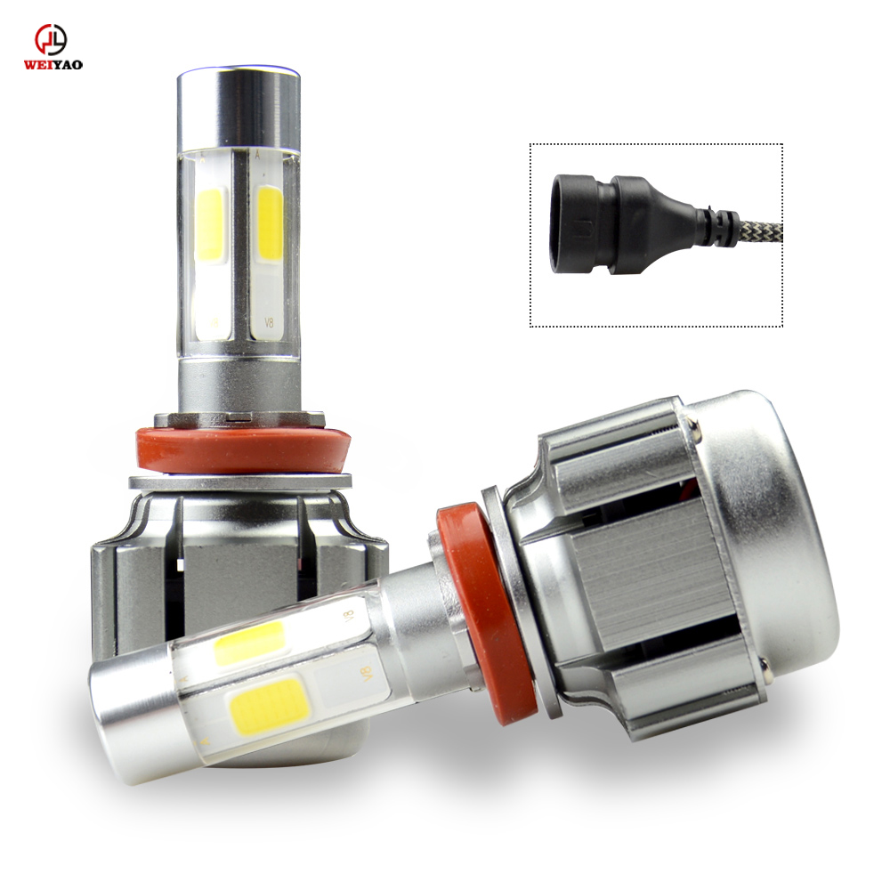 Weiyao 2pcs Super Bright H11 H9 Led Bulb Canbus 40W 4000Lm Auto Headlights H11 Car Led Light 12V Fog Lamp