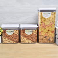 3 pieces set Dry and moisture proof plastic snack/cereal/candy container storage box