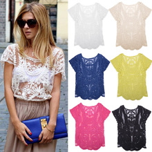 Fashion Lace Embroidery Floral Crochet Short Sleeve Women's Blouse Retro Sexy Hollow-Out blouse Plus Size in 2015 Inst lace ropa