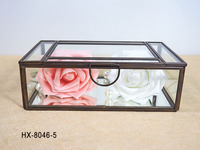HX-8046 Branded Antique Mirror Glass Jewelry Box/Indian Trinket Box