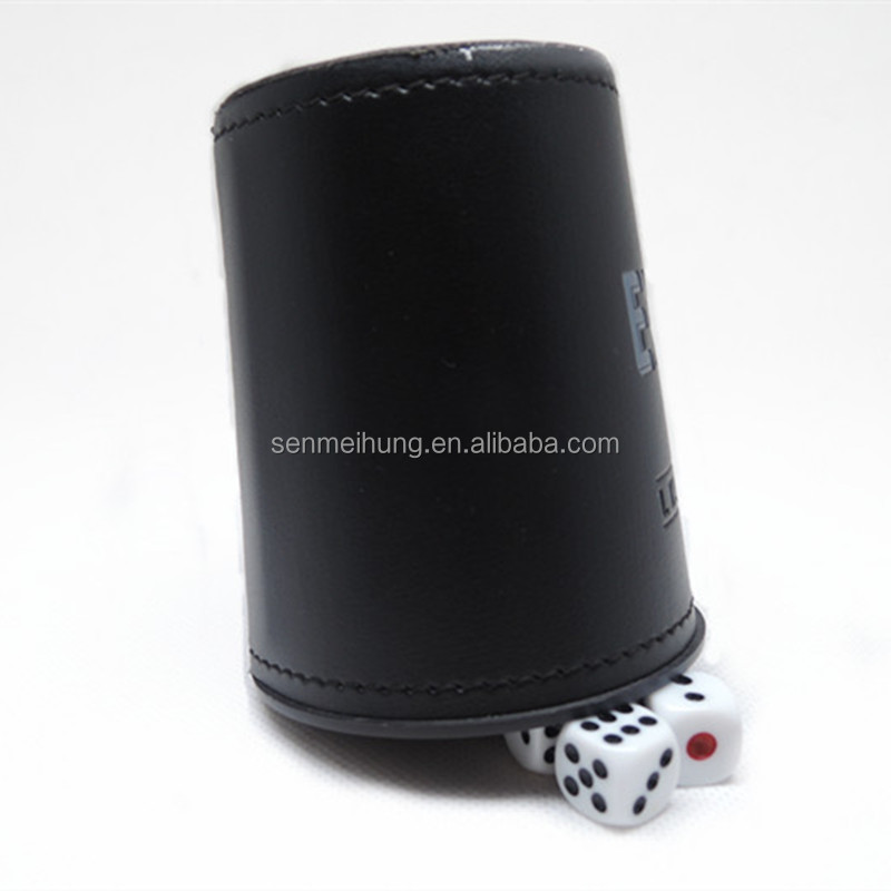 Faux leather screen printing logo dice cup with standard 5* 12mm dice