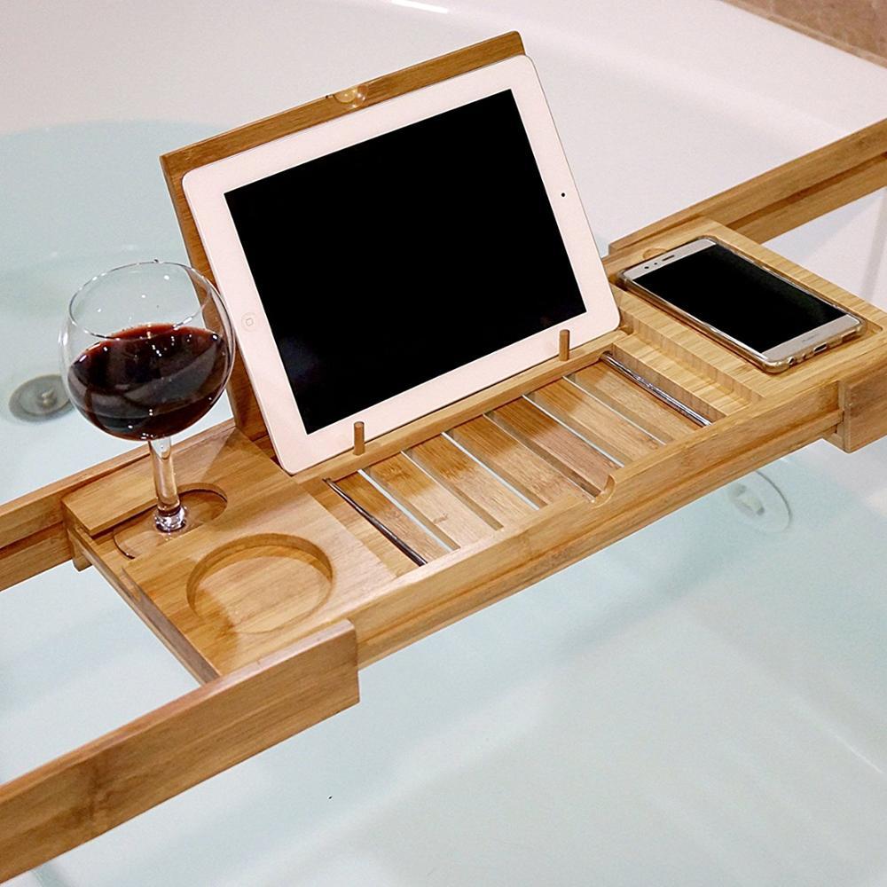 Bamboo Bathtub Caddy,Bamboo Shower Bath Tub Tray Organizer With ...