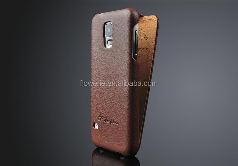 FL374 Litchi Pattern Flip Real thermoforming Leather Phone Cover for Galaxy S5 case