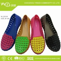 2014 jelly shoes colorful women in women 's sandals upper holes to avoid rain