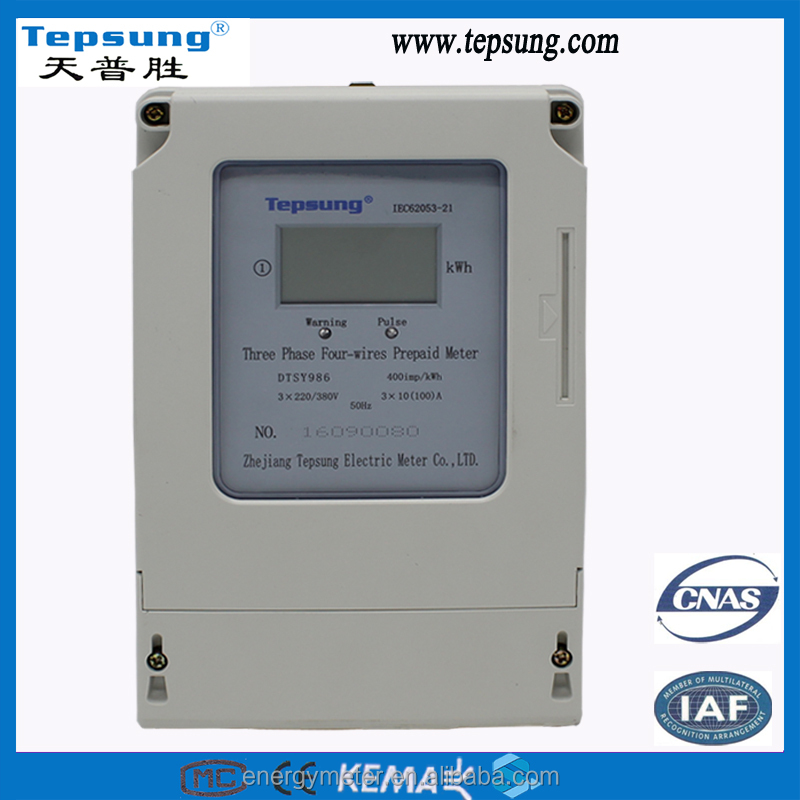 3 phase 4 wire prepaid energy meter
