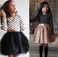 2017 Spring Autumn 3-8 Years Children Clothing Polka Dot Long Sleeve Casual Baby Party Dress