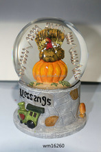 Polyresin Halloween Pumpkin Lighted Musical Snow Globe