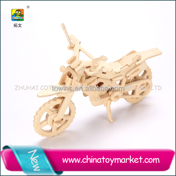 Hot Selling cross country wooden toy motorcycle puzzle education toys for kids
