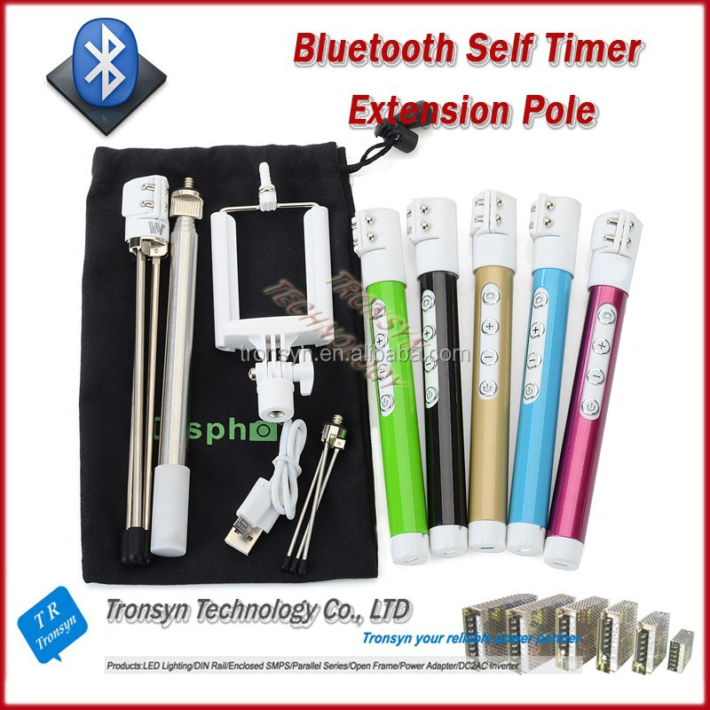 2015 New Arrival Stainless Steel Bluetooth Handheld Extendable Wireless Bluetooth Monopod Support Android And IOS System