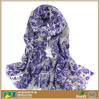 2016 New style fashion winter scarves, womens warm elegant purple blue and white porcelain print 100% wool scarves and shawl