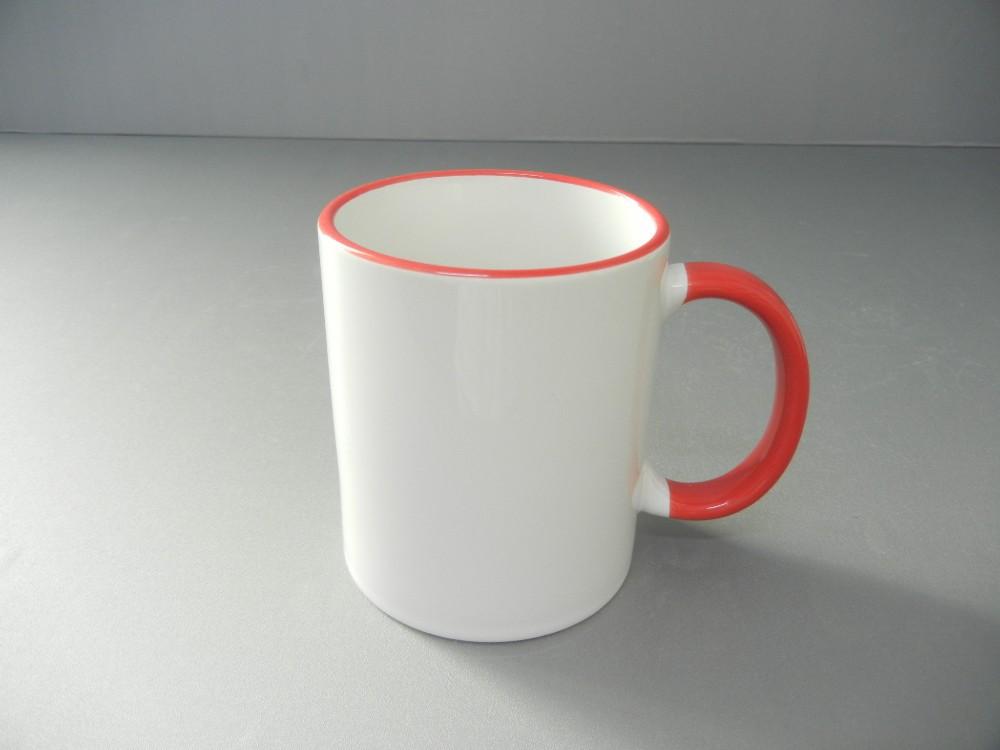 wei e tasse mit rot gr n blau schwarz farbige rand griff geschirr drink einfarbig. Black Bedroom Furniture Sets. Home Design Ideas