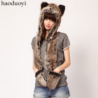 Women Winter Fur Hat with Warm Scarf and Gloves for Wholesale Haoduoyi