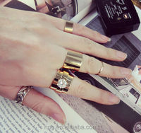 Gold plated zircon stone finger western wedding ring set