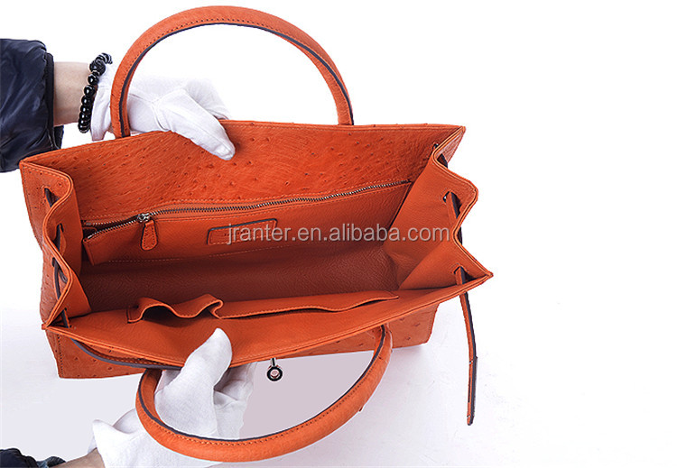 Fashion elegance bags genuine ostrich leather women handbag tote bag shoulder bag