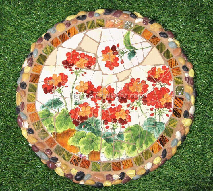 Ceramics Mosaic Stepping Stone Beautiful Handpainted Ceramics Paving Stone Garden Round Stepping