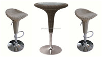 2016Hot Selling Adjustable Round Rattan Bar Table With Glass Top