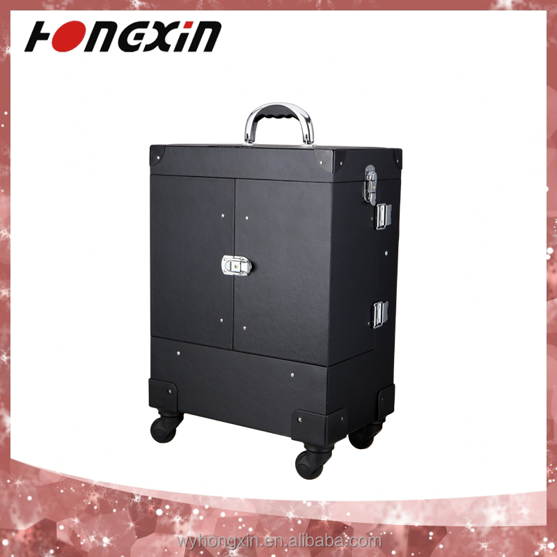 professional wholesale trolley train wedding favours gifts makeup case with wheels for guests