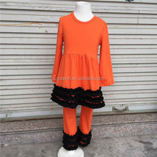 Fall Boutique Remakes Girls Clothing 2017 Kids Halloween Orange Ruffle Pants Outfits Sets