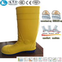 new style yellow blue pvc nitrile rubber safety shoes men boots 2014