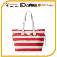 Fashion striped canvas beach bag leather handle