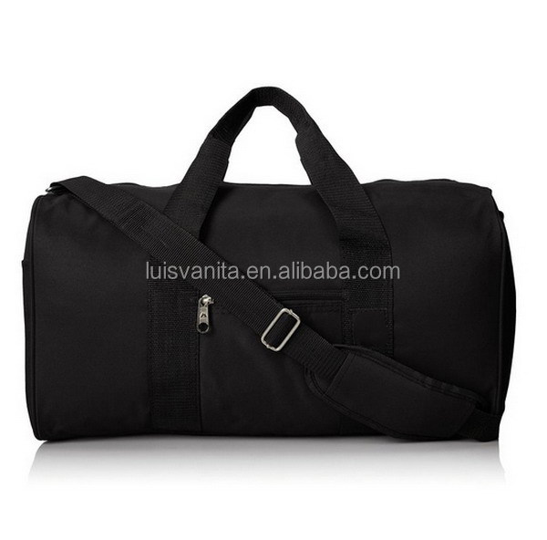 Black Durable High End Overnight Duffel Round Travel Bag for Men