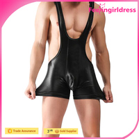 Factory Price New Arrival Sexy Black Men Faux Leather Lingerie