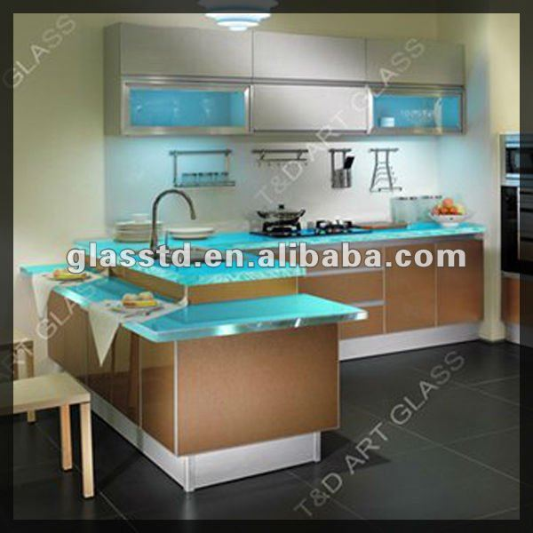 crushed glass countertop kitchen raised bar