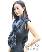 CX-S-54D Knit Fashionable Genuine Rex Rabbit Fur Scarf With Fringes