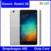 "Original Xiaomi Redmi 3S Mobile Phone 4100mAh Battery Fingerprint ID Snapdragon 430 Octa Core 2GB RAM 16GB ROM 5"" Metal Body"