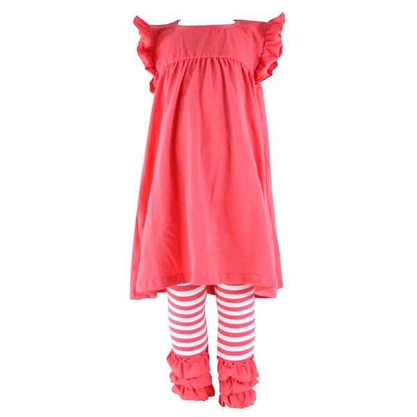 2017 baby girls kids spring summer flutter sleeve ruffled cheap cotton Baby Boutique Clothing with great price