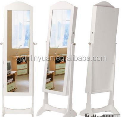 european E1 MDF wood cabinet standing mioor jewellry storage mirror