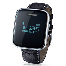 2016 factory leather strap watch phone + answer call + music display + phone book + short message OCT