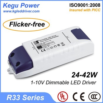 KEGU R33 24-42W 1-10V Dimmable LED Driver (Flicker-free) with CE UL