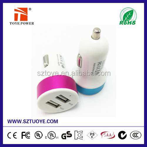 High speed Universal Dual USB Port Custom Logo USB Car Charger 2.1A for Mobile Phone